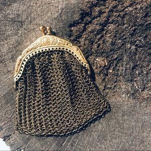 Vintage antique German chainmail coin purse